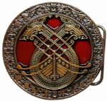Celtic Longboat 24k Gold and Silver and Colour Plated Belt Buckle with display stand. Code MA1